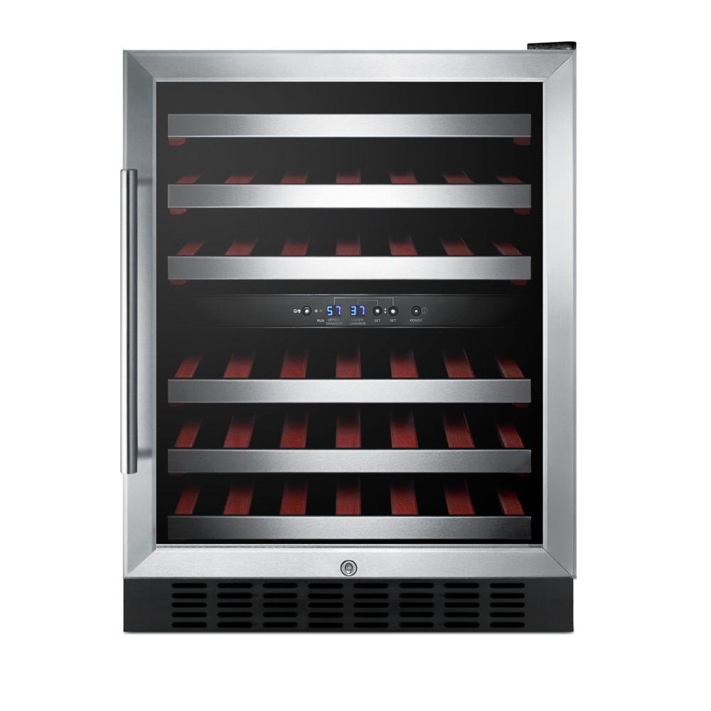 24 in. 36-Bottle Wine Cooler with Two Temperature Zones