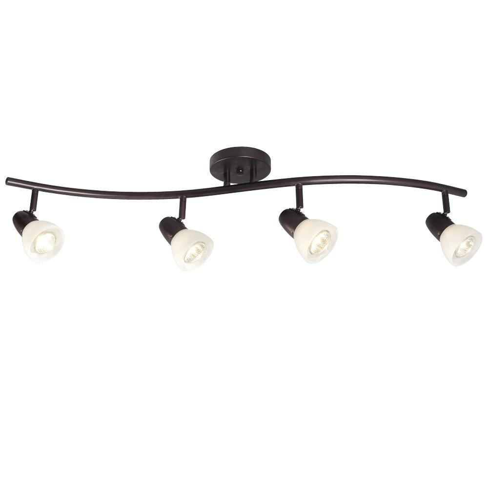 Negron 4-Light Old Bronze Track Lighting Wave Bar with Directional Heads