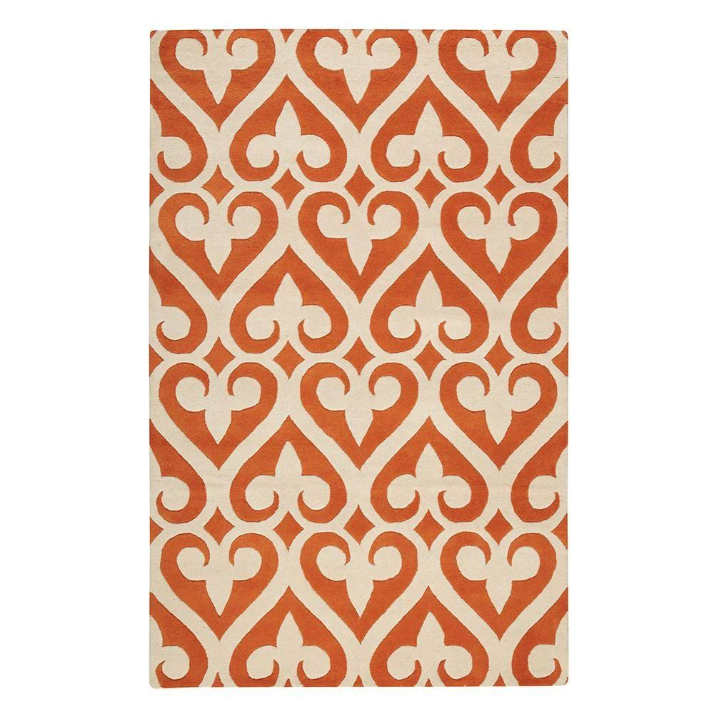 Home Decorators Collection Spades Poppy and Cream 2 ft. 3 in. x 3 ft. 9 in. Area Rug