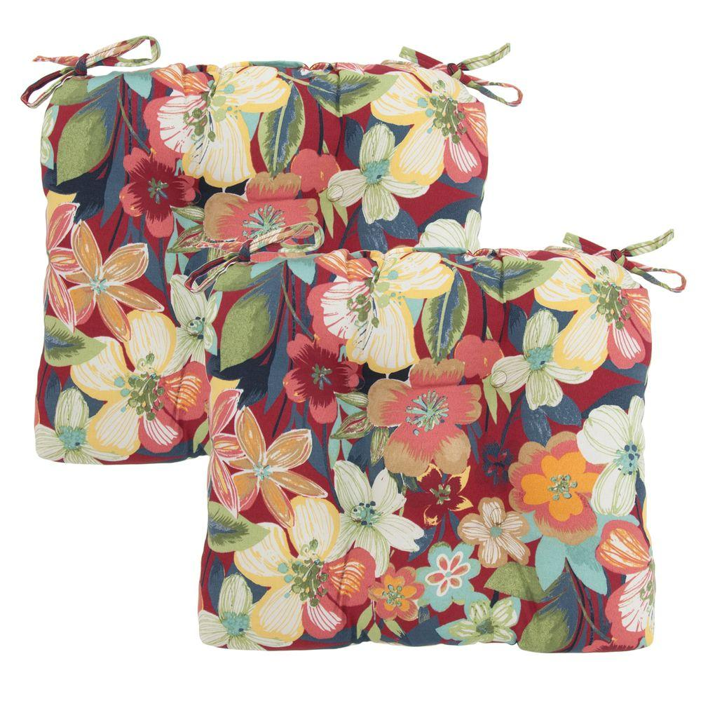 Hampton Bay Hideaway Floral Tufted Outdoor Seat Pad (2-Pack)