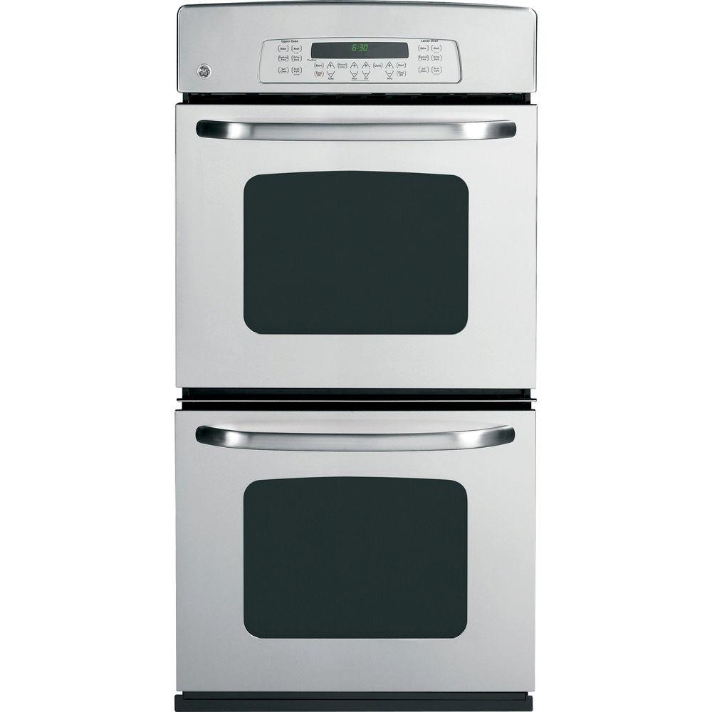 GE 27 in. Double Electric Wall Oven Plus Self-Cleaning in Stainless Steel