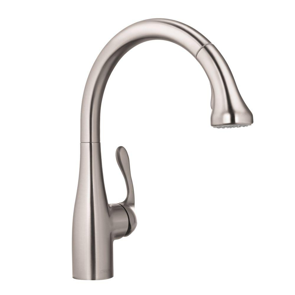 wonderful Hansgrohe Allegro E Gourmet Pull Down Kitchen Faucet #3: Allegro E Single-Handle Pull-Out Sprayer Kitchen Faucet in Steel Optik
