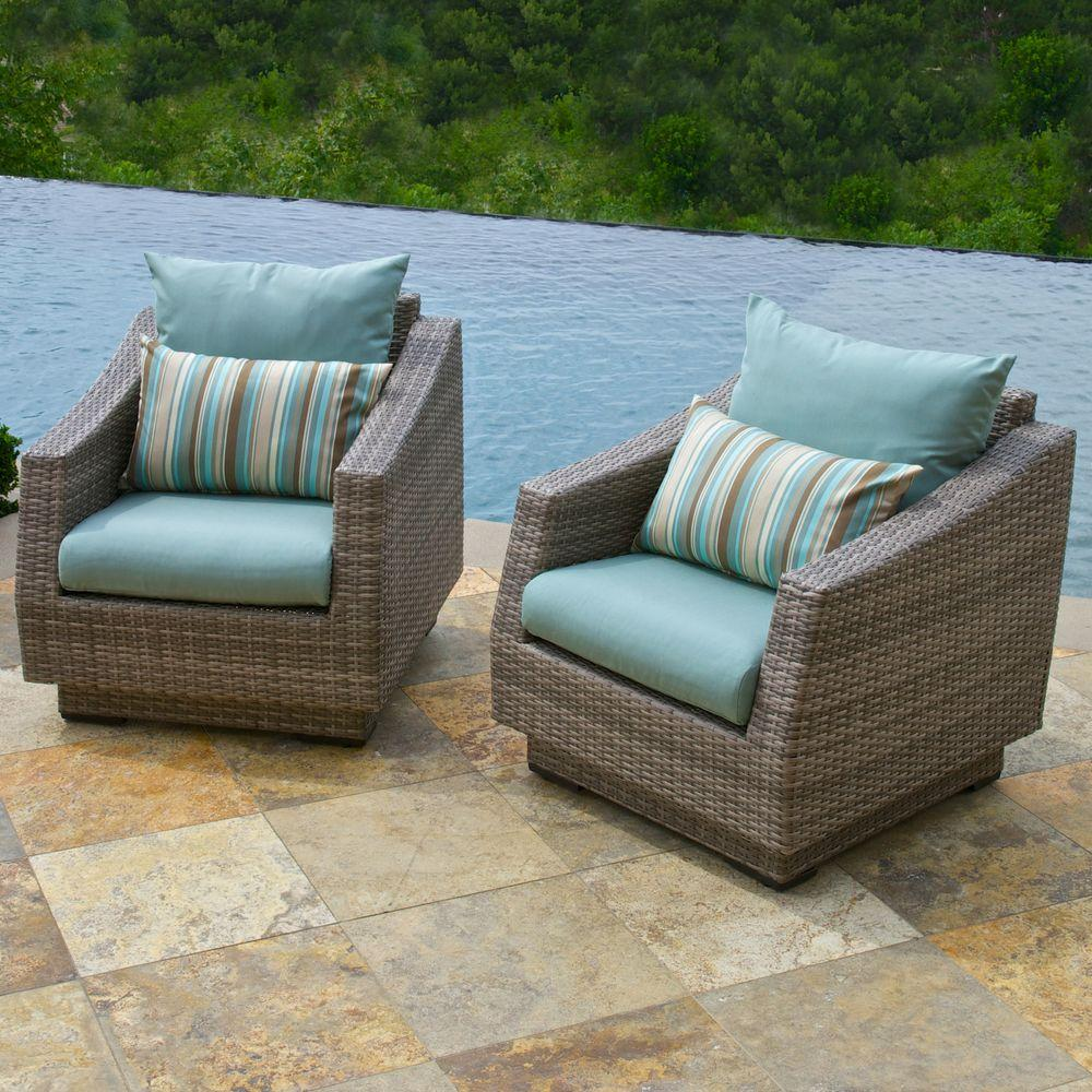 RST Brands Cannes Patio Club Chair with Bliss Blue Cushions (2-Pack)