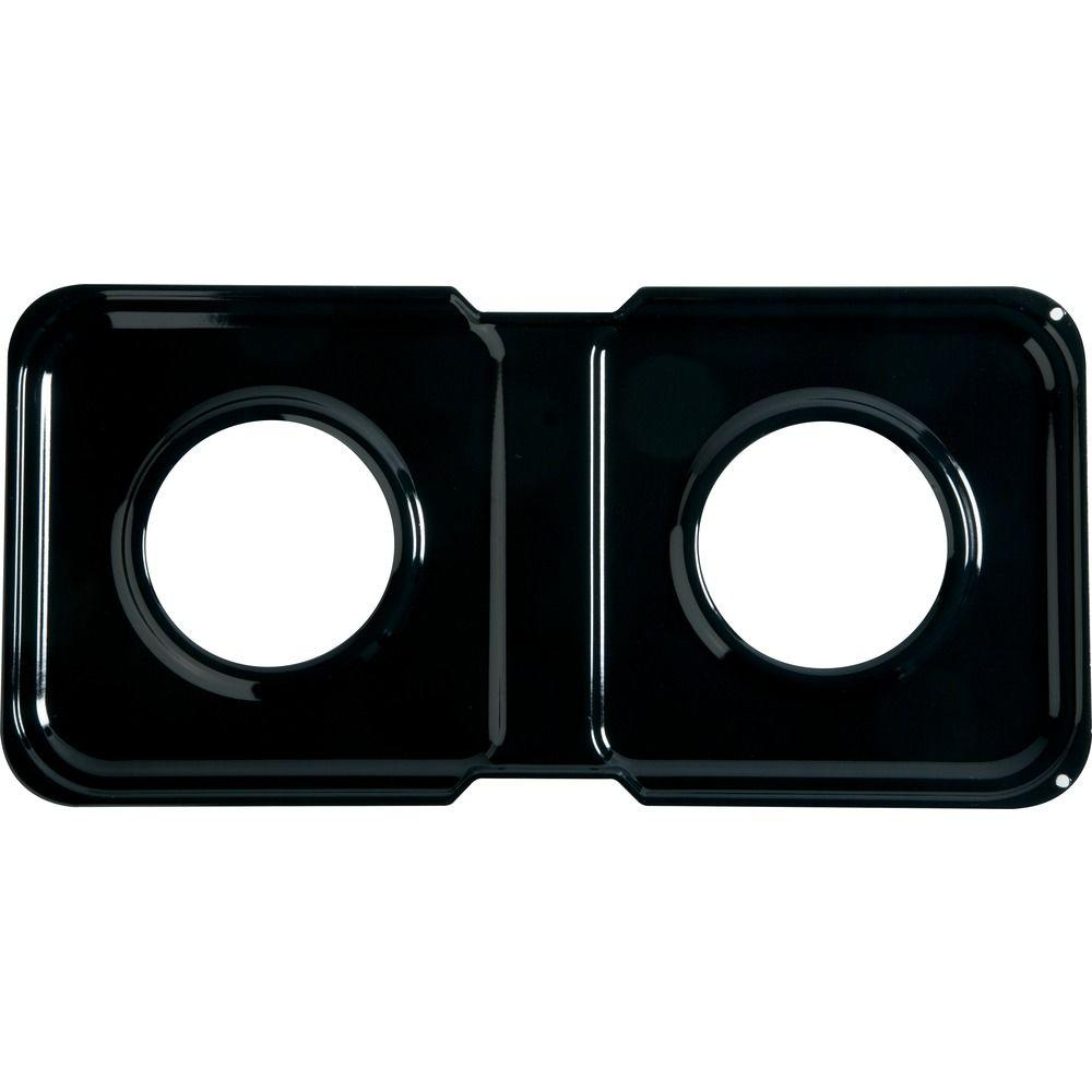 GE 17-1/2 in. x 8-1/2 in. Porcelain Double Gas Range Drip Pan ...