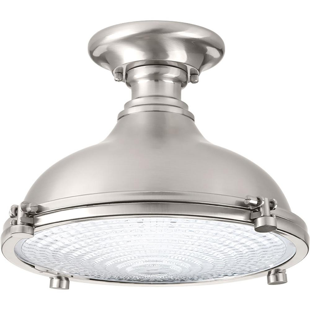 Fresnel Lens Collection 17 -Watt Brushed Nickel Integrated LED Semi-Flushmount