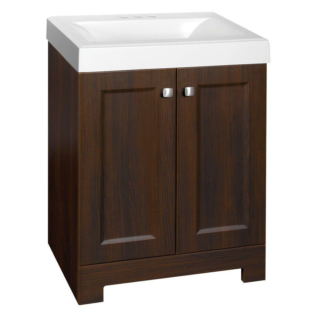 Glacier Bay Shaila 24 1 2 In W X 16 1 2 In D Vanity In Truffle With Cultured Marble Vanity Top