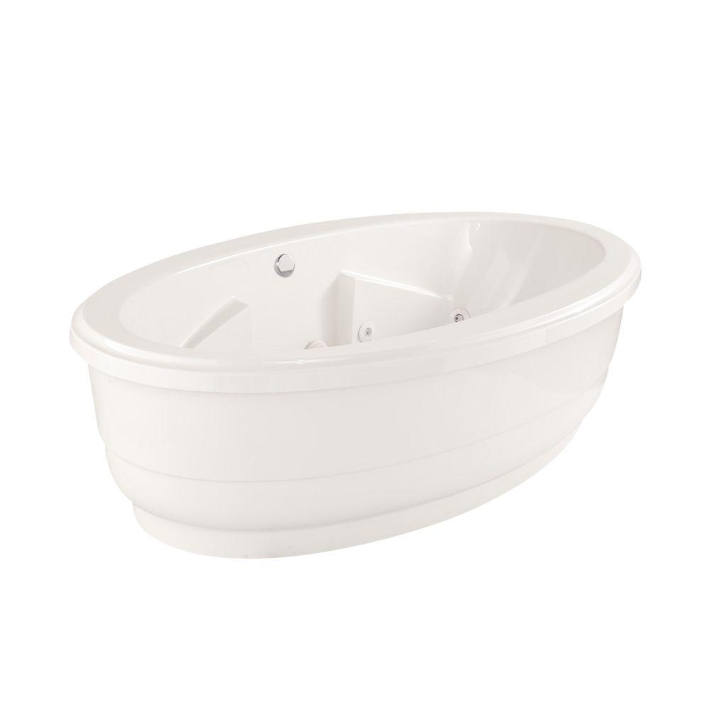 Hydro Systems Santa Fe 6 ft. Center Drain Acrylic Freestanding Jetted Bathtub in White