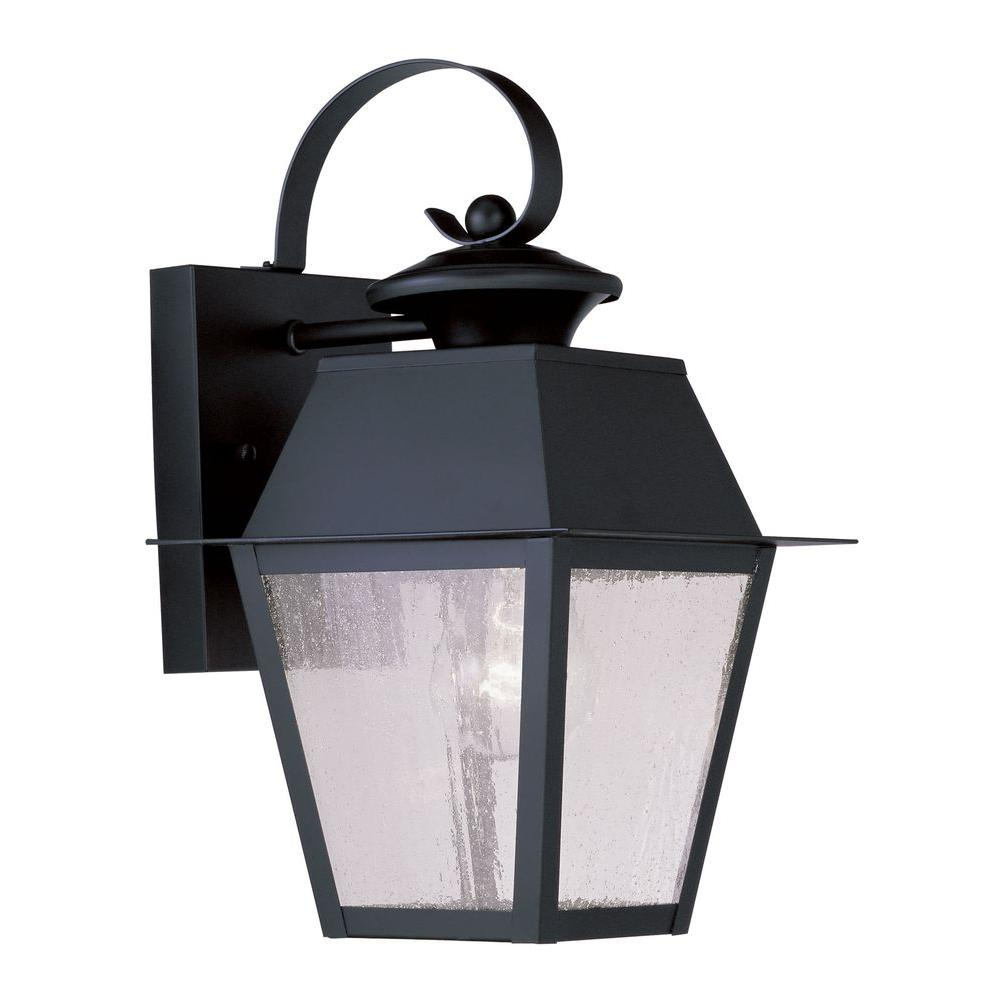 Livex Lighting Providence Wall-Mount 1-Light Black Outdoor Incandescent Lantern