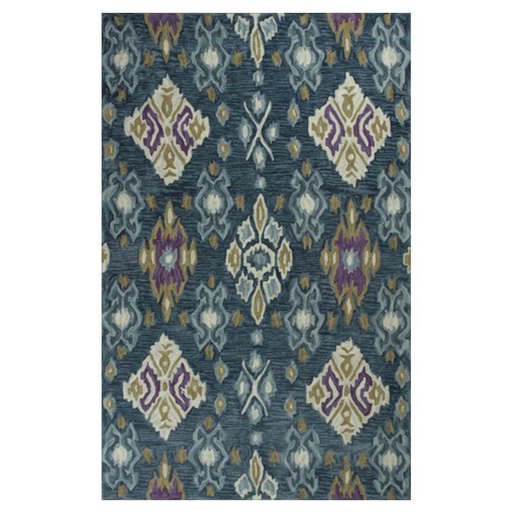 Kas Rugs Touch of Ikat Blue/Cream 5 ft. x 7 ft.