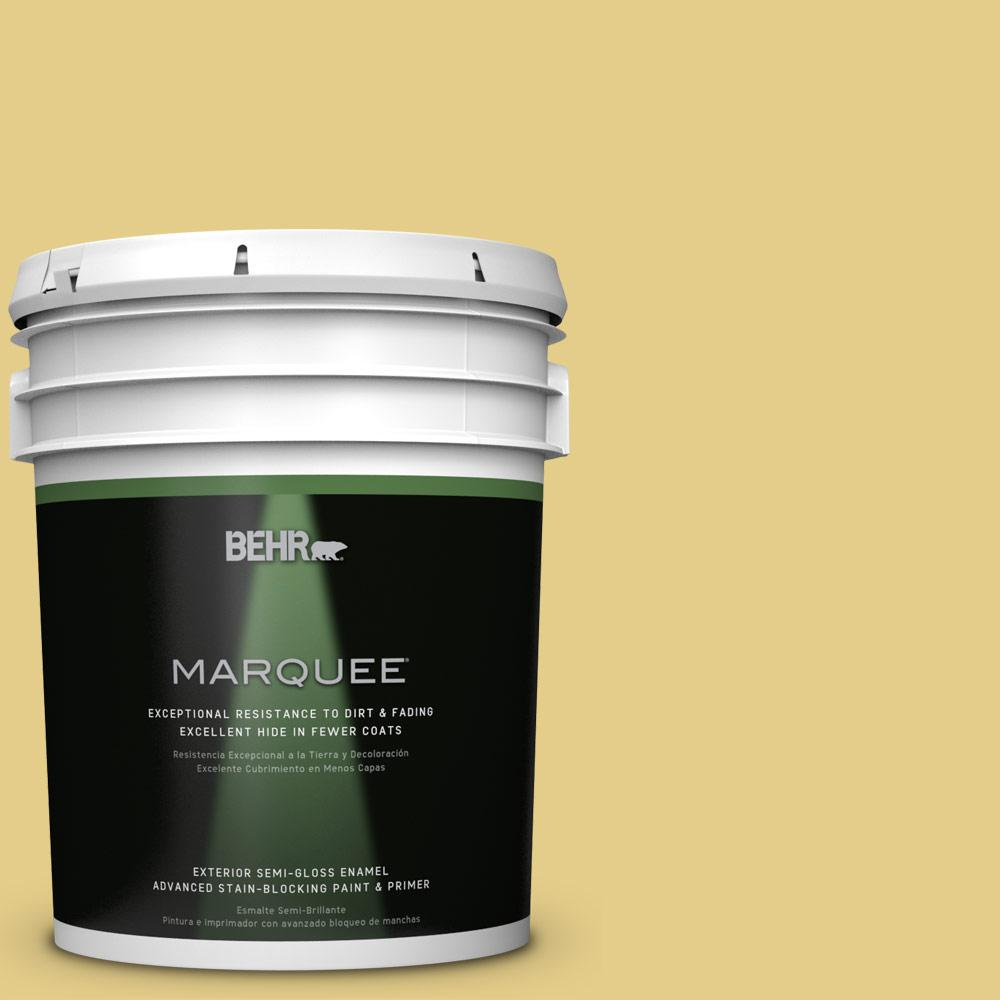 BEHR MARQUEE 5-gal. #T12-6 Lol Yellow Semi-Gloss Enamel Exterior Paint-545405 -