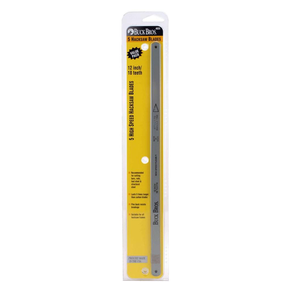 Buck Bros. 12 in. and 18T HSS Hacksaw Blade (5-Pack)
