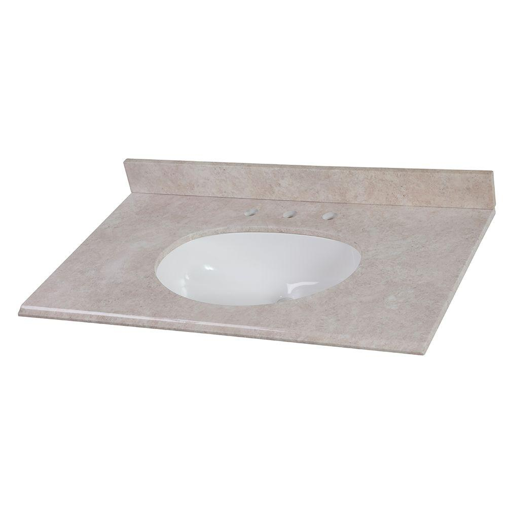 Home Decorators Collection 37 in. x 22 in. Stone Effects Vanity Top in Oasis with White Basin