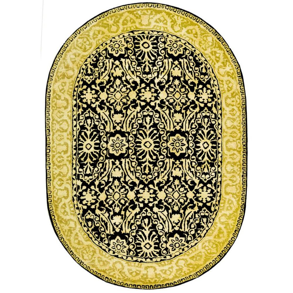 Safavieh Silk Road Black/Ivory 4 ft. 6 in. x 6 ft. 6 in. Oval Area Rug
