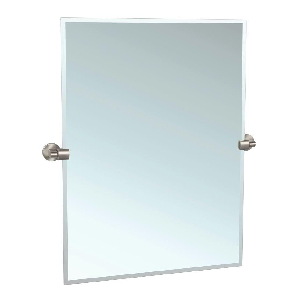 Gatco zone 27 6 in x 31 5 in frameless single rectangle for Frameless wall mirror