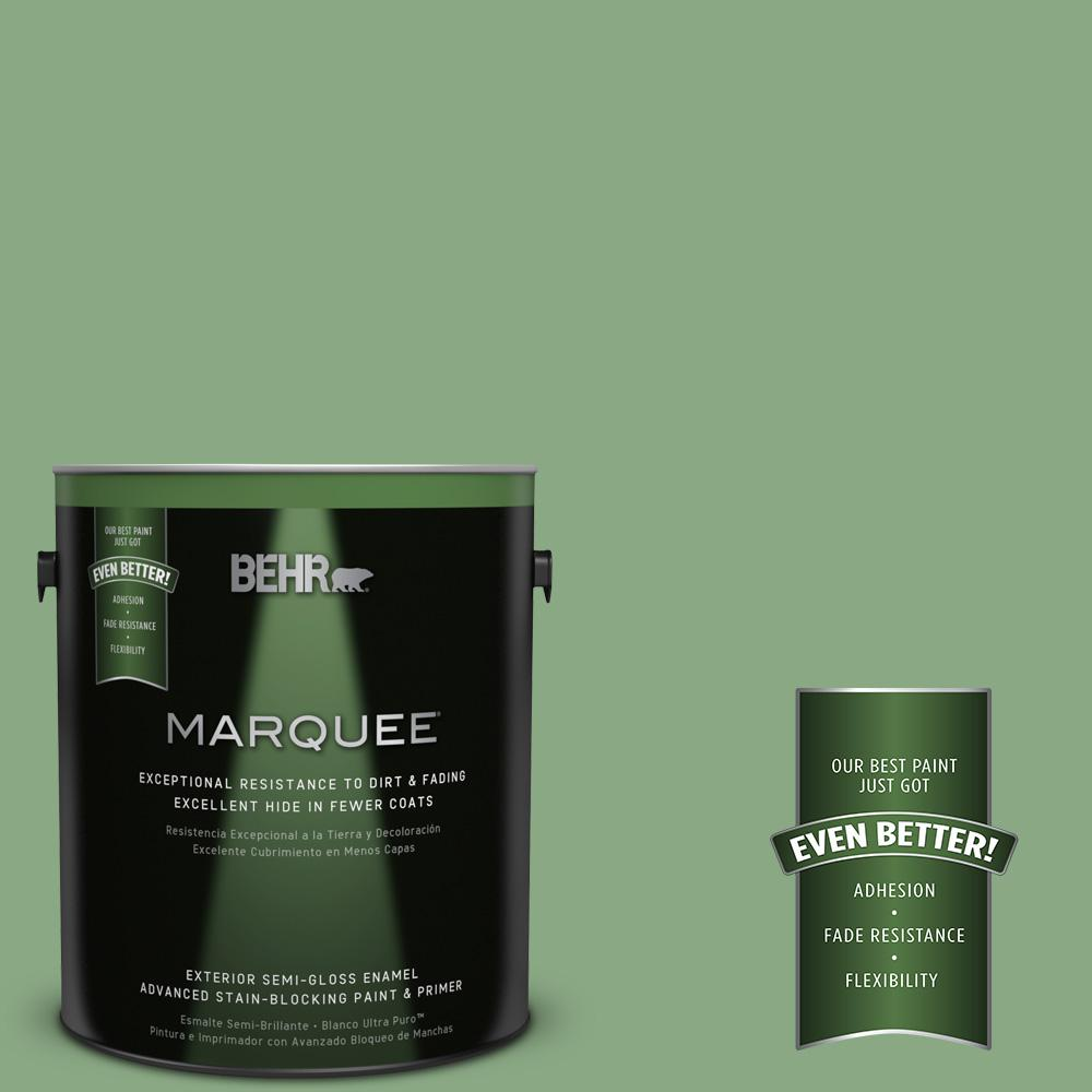 1-gal. #M400-5 Baby Spinach Semi-Gloss Enamel Exterior Paint