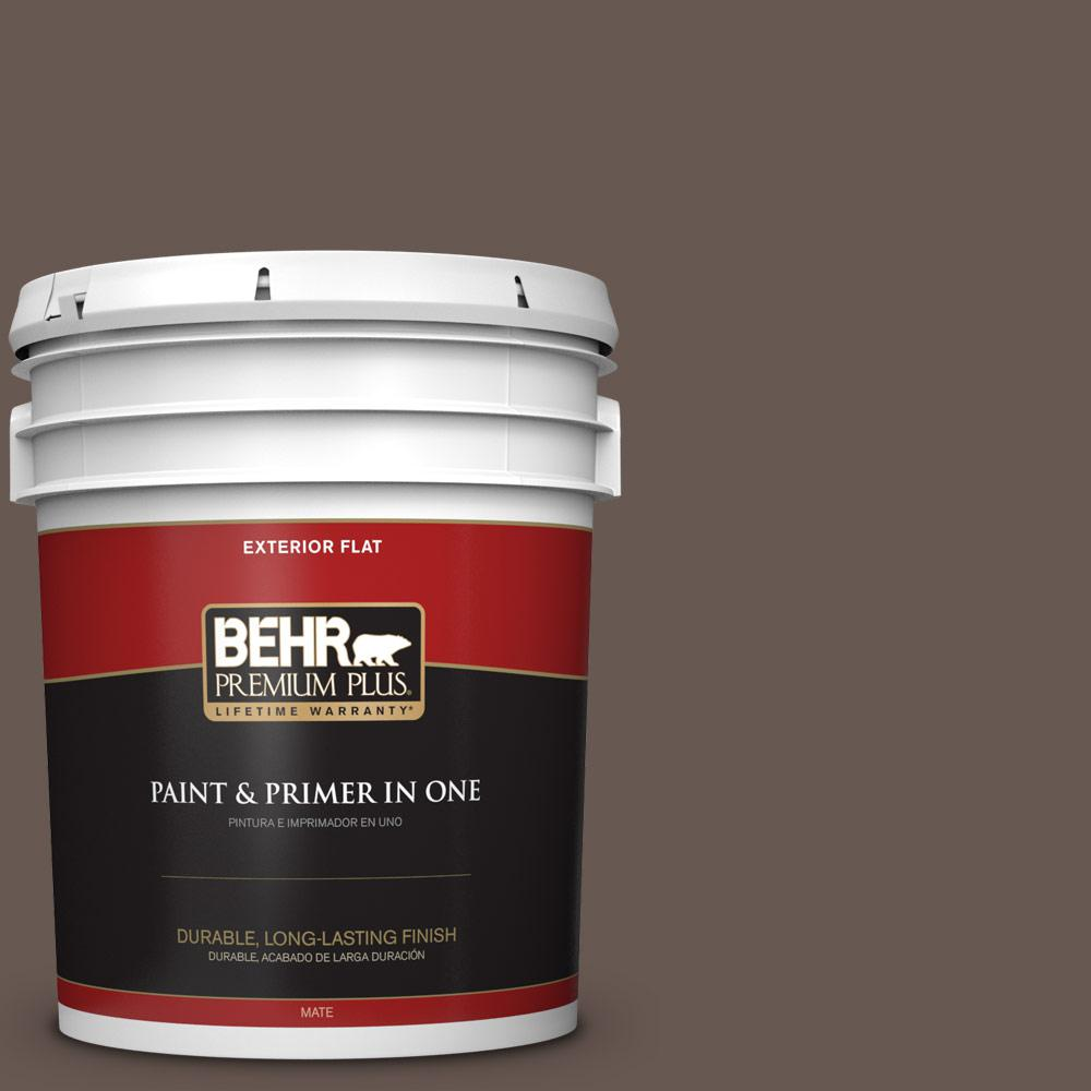 5 gal. #HDC-FL14-10 Pine Cone Brown Flat Exterior Paint