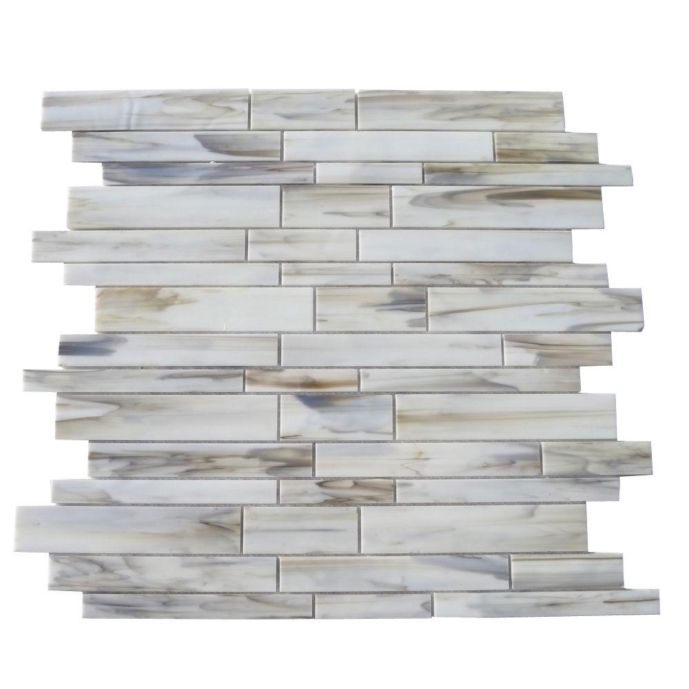 Glass Tiles For Kitchen Wall: Splashback Tile Matchstix Halo 12 In. X 12 In. X 3 Mm