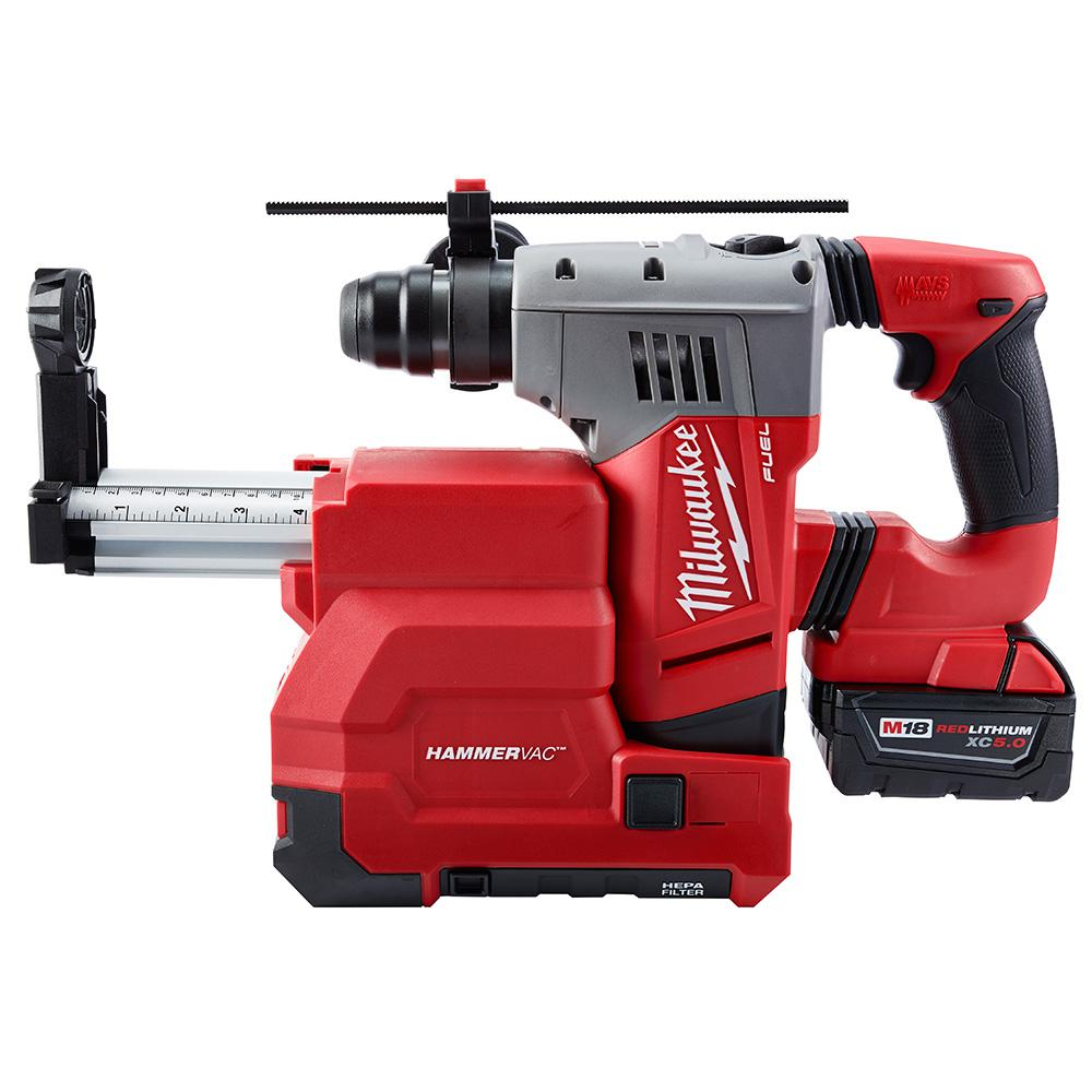Milwaukee M18 FUEL 18-Volt Lithium-Ion Brushless 1-1/8 in. SDS-Plus Rotary Hammer and Hammervac Dedicated Dust Extractor Kit