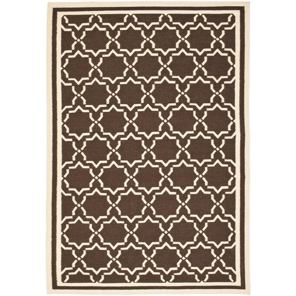 Dhurries Chocolate/Ivory 6 ft. x 9 ft. Area Rug