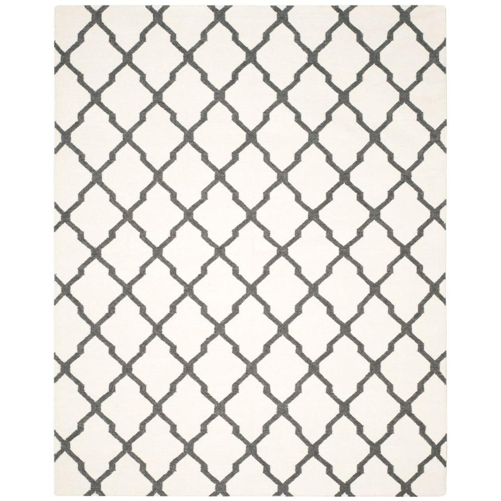 Safavieh Dhurries Ivory/Charcoal 8 ft. x 10 ft. Area Rug