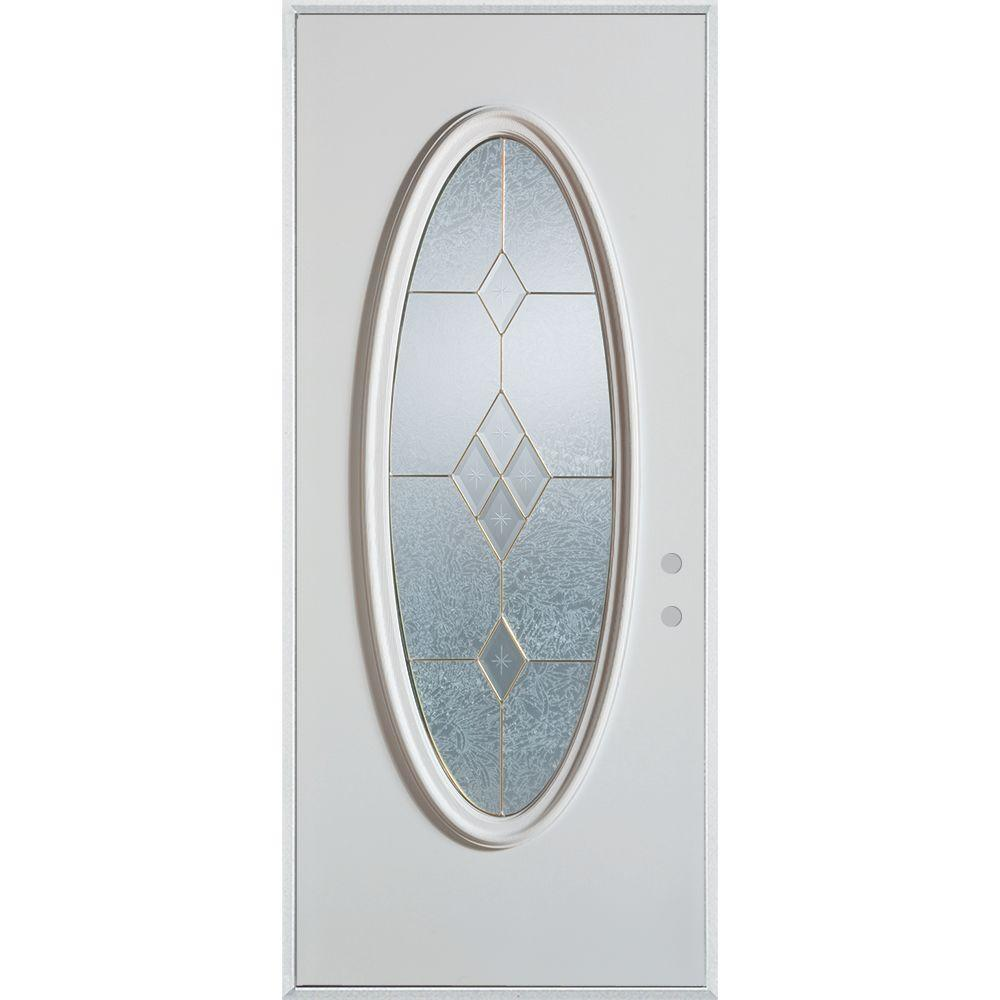 36 in. x 80 in. Geometric Brass Full Oval Lite Painted