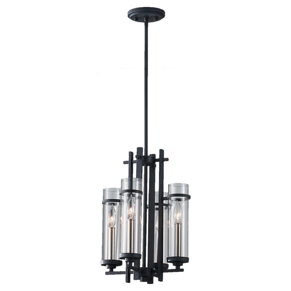 Ethan 4-Light Antique Forged Iron/Brushed Steel Mini Chandelier