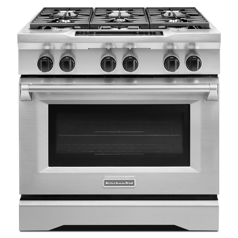 Commercial-Style 36 in. 5.1 cu. ft. Slide-In Dual Fuel Range with