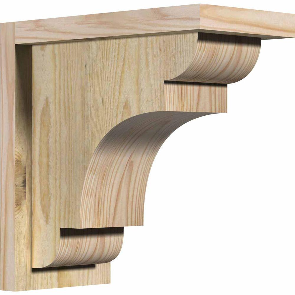 Ekena Millwork 6 in. x 12 in. x 12 in. Douglas Fir New Brighton Rough Sawn Corbel with Backplate