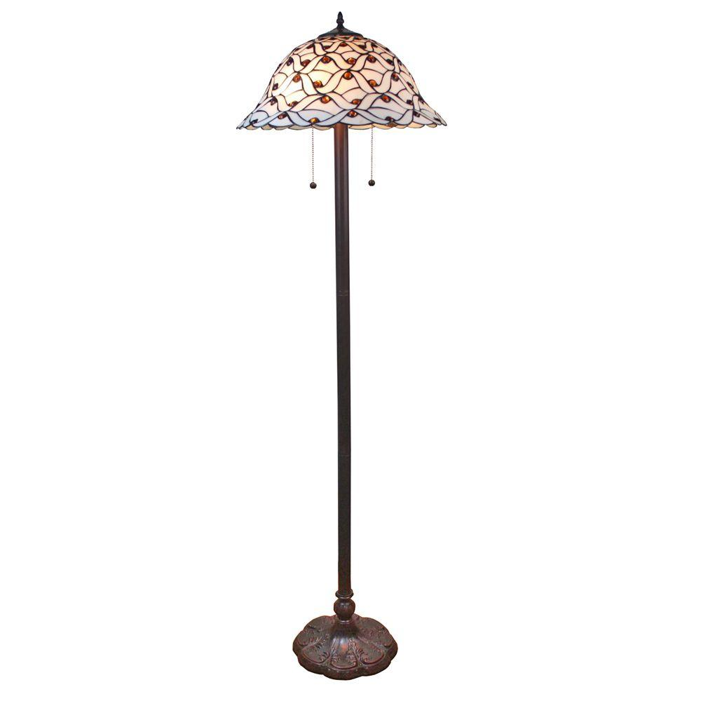 Amora Lighting 61 in. Tiffany Style Jeweled Design Glass Pearl Floor