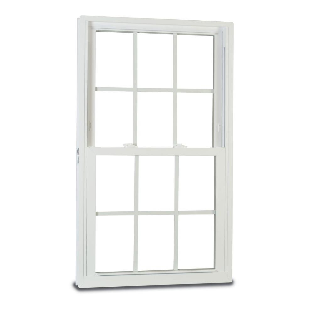 American Craftsman 35.75 in. x 53.25 in. 70 Series Double Hung Buck Vinyl Window with Grilles - White