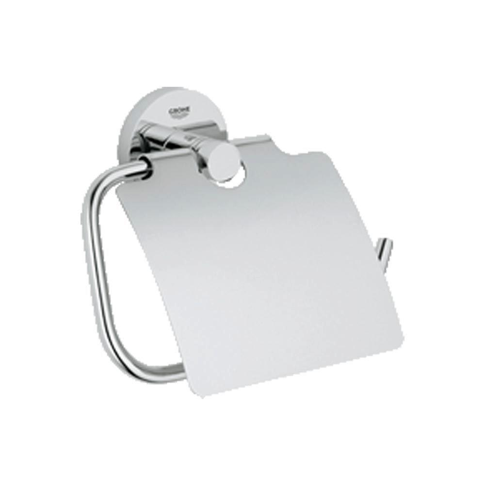 Essentials Single Post Toilet Paper Holder with Cover in StarLight Chrome