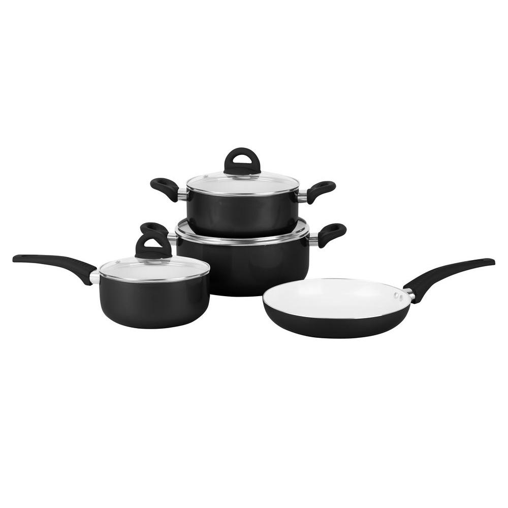 Pure Life 7-Piece Pressed Aluminum Cookware Set in Black/White-RALC037B - The
