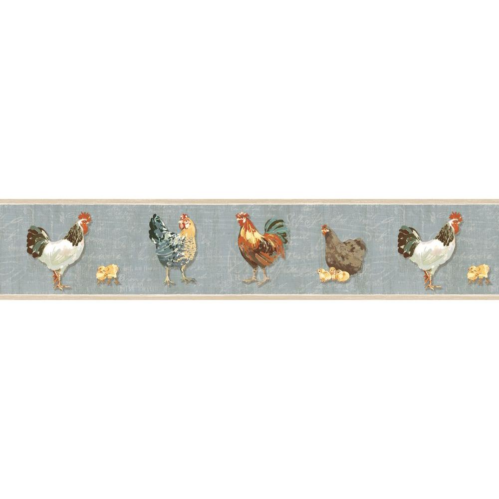 Bailey Rooster & Script Wallpaper Border