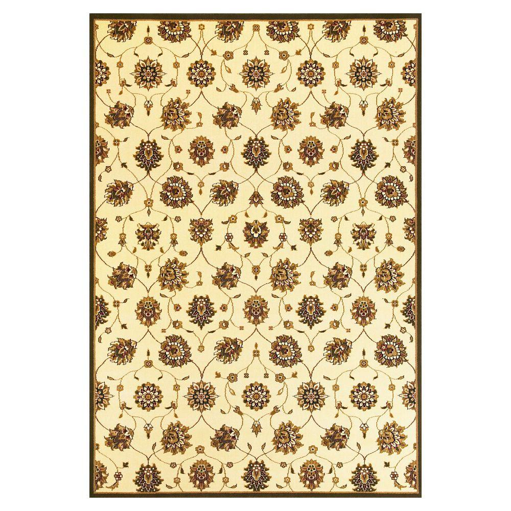 Kas Rugs Classic Panel Tabriz Ivory 7 ft. 7 in. x 10 ft. 10 in. Area Rug