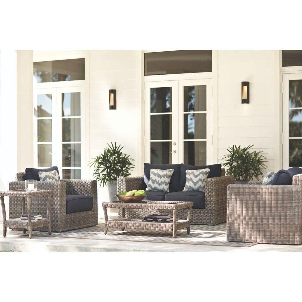 Home Decorators Collection Naples 5-Piece Patio Deep Seating Set with Navy Cushions