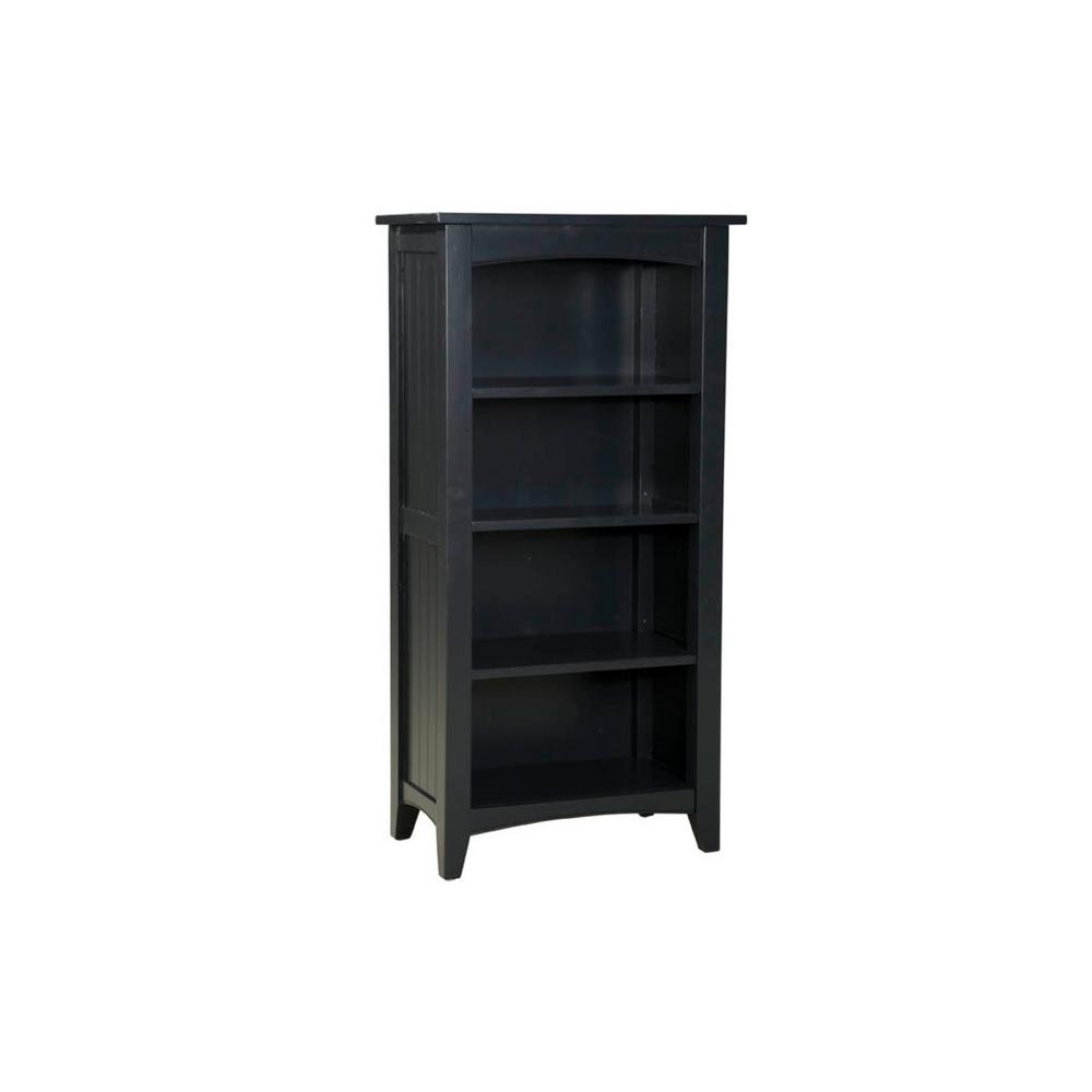 Alaterre Furniture Shaker Cottage 3-Shelf Tall Bookcase in Black