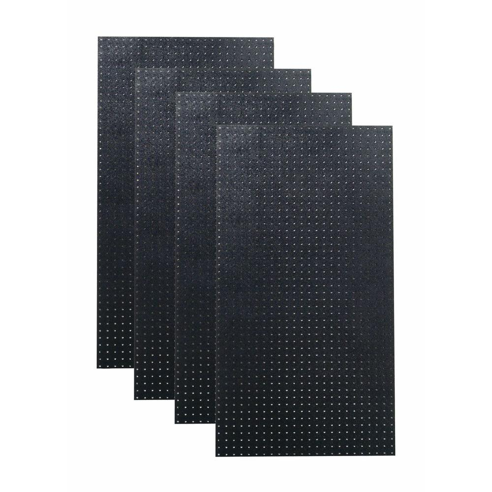 9/32 in. Hole Size (4) Black Polyethylene Matte Front Texture Pegboard