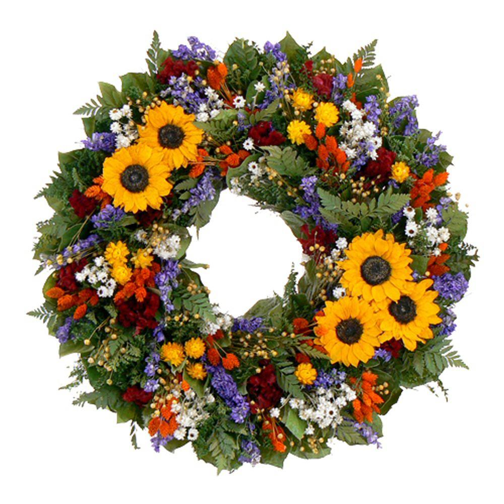The Christmas Tree Company Swanky Sunflower 22 in. Dried Floral Wreath