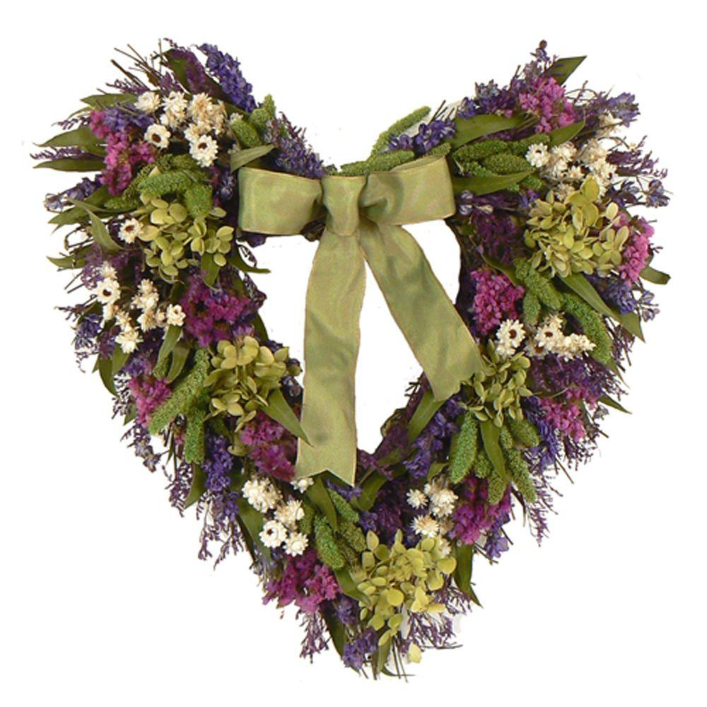 The Christmas Tree Company Cheerful Spring 16 in. Dried Floral Heart Wreath