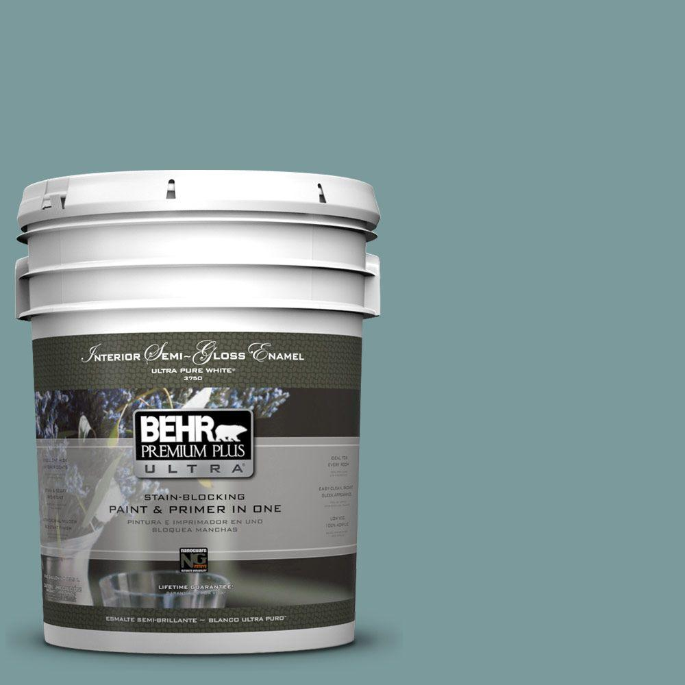 5-gal. #PMD-35 Blue Agave Semi-Gloss Enamel Interior Paint