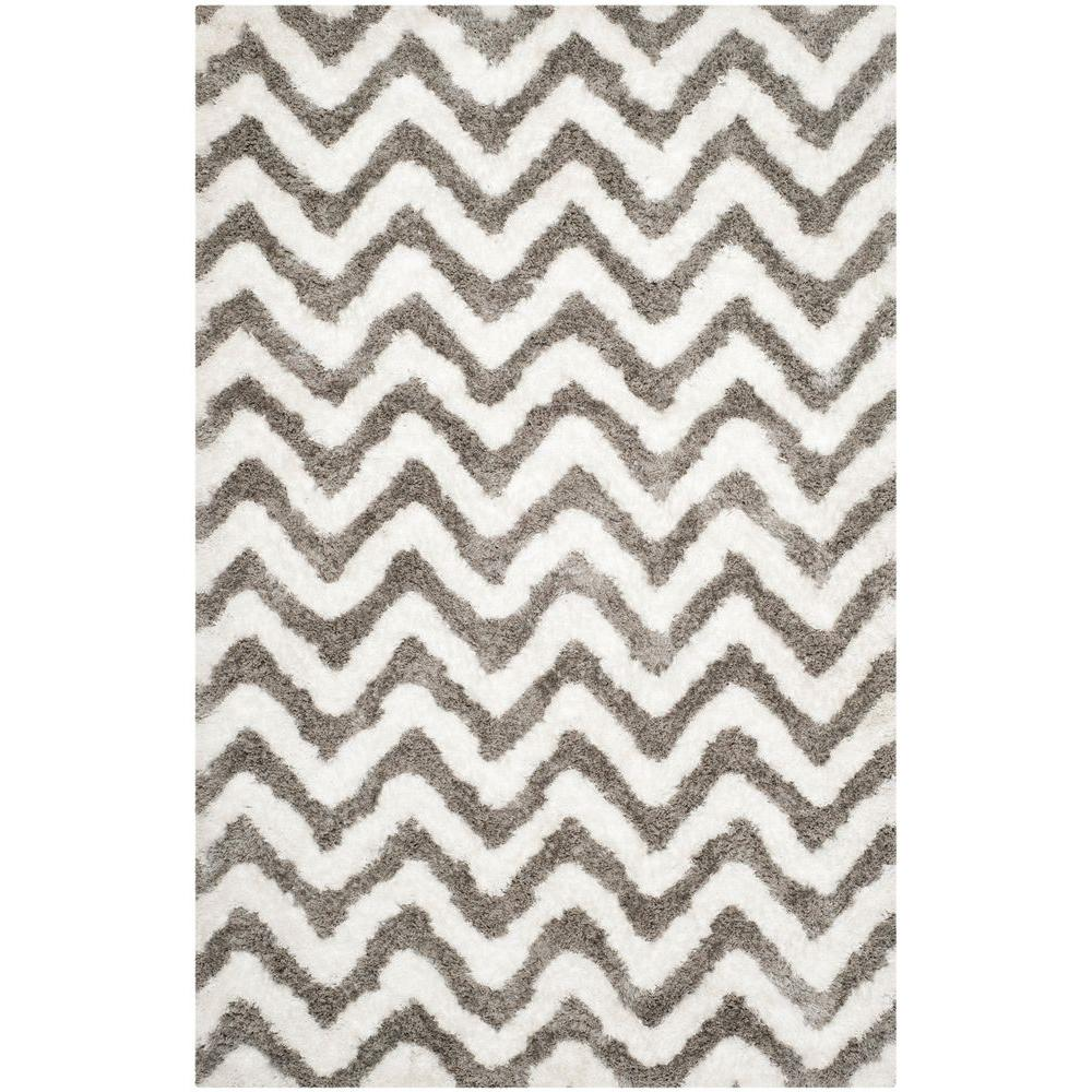 Barcelona Shag Ivory/Silver 6 ft. x 9 ft. Area Rug