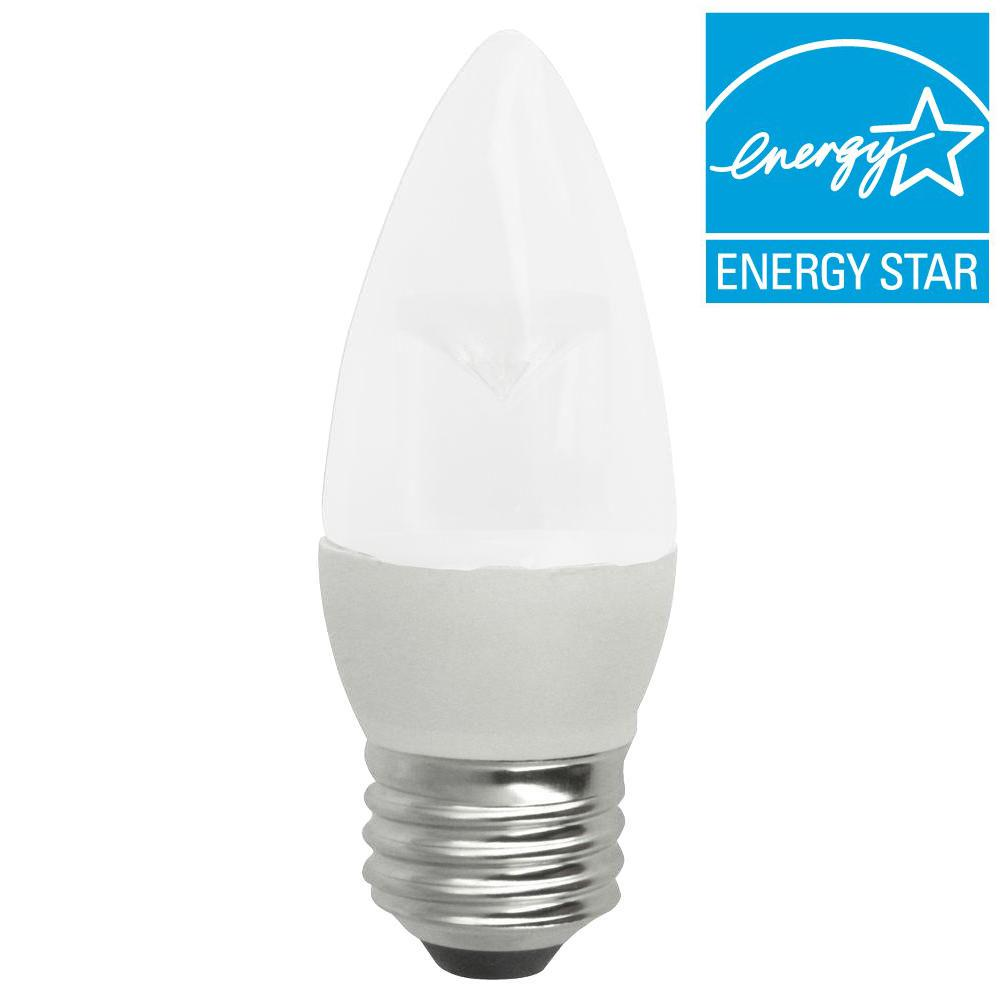 25W Equivalent Soft White (2700K) B13 Decorative Medium Base Dimmable Frosted