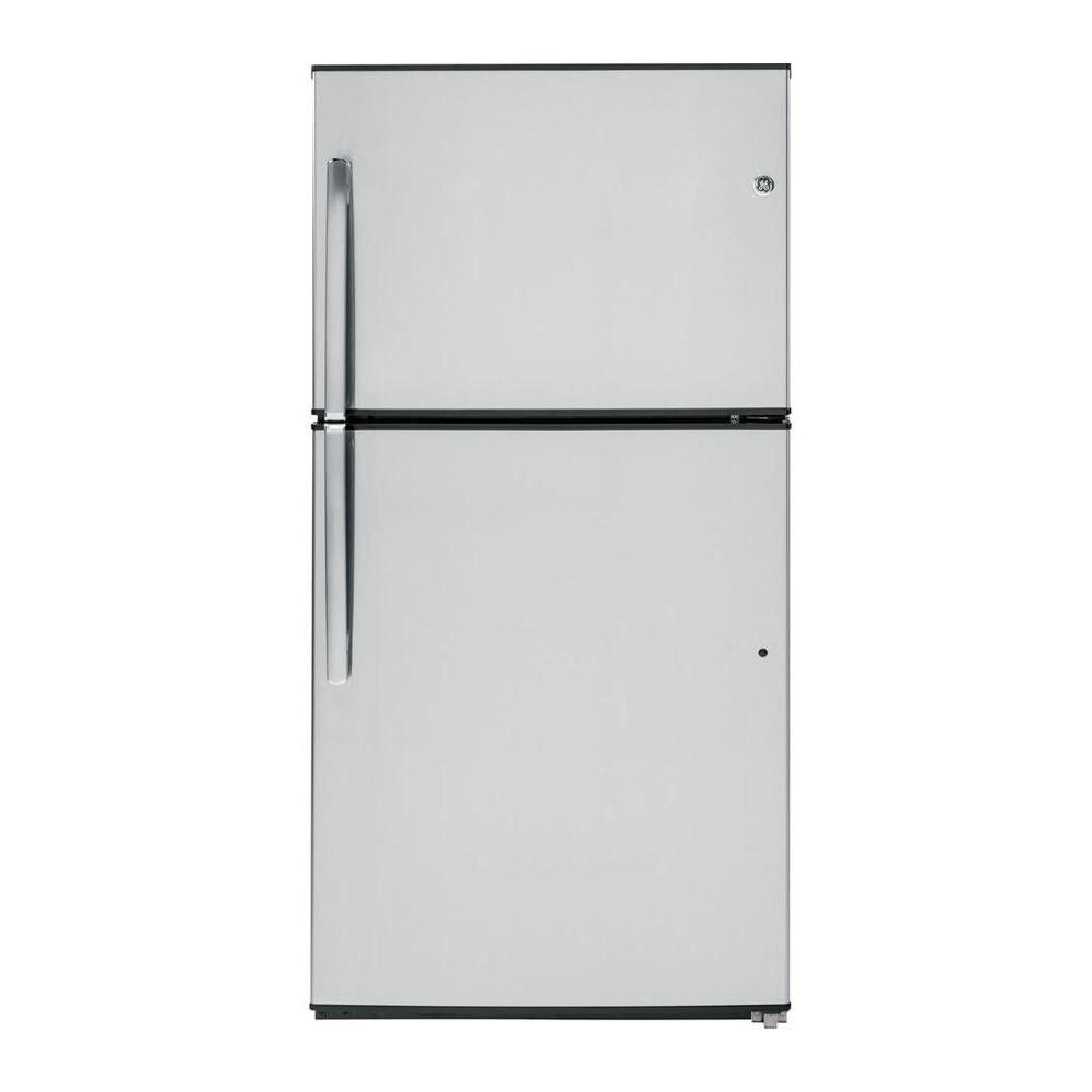 GE 32.75 in. W 21.2 cu. ft. Top Freezer Refrigerator in Stainless Steel