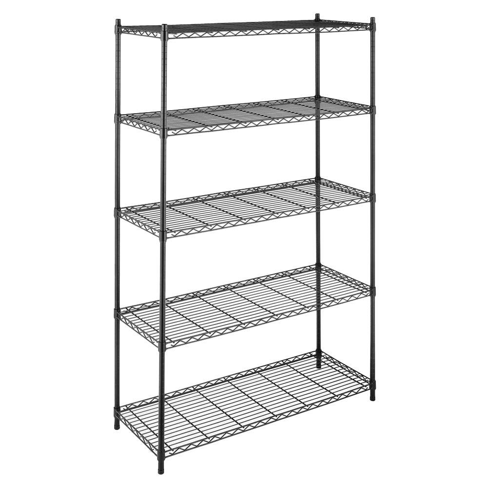 Supreme Shelving Collection 48 in. x 74 in. Supreme 5-Tier Shelving in Black