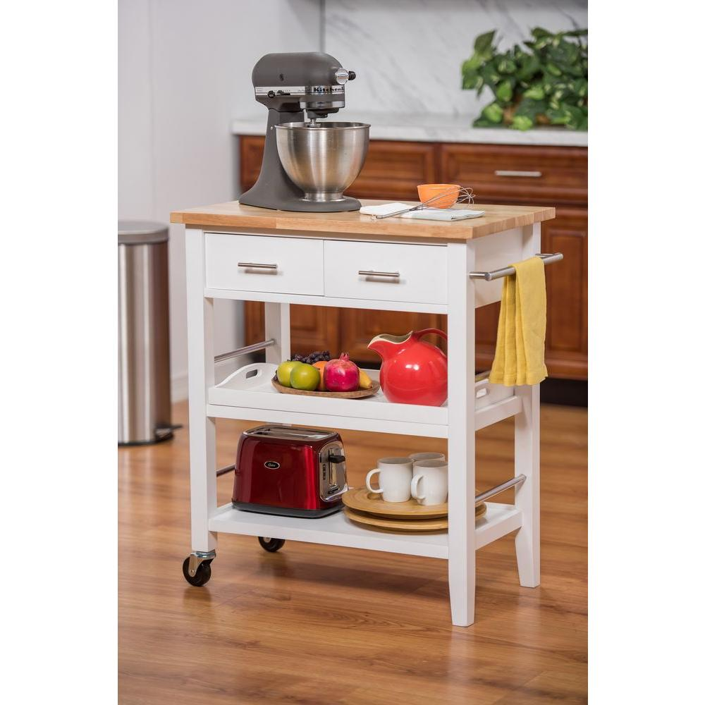 Kitchen Cart With Drawers: Trinity 30 In. W Wood Kitchen Cart With Drawers And Tray