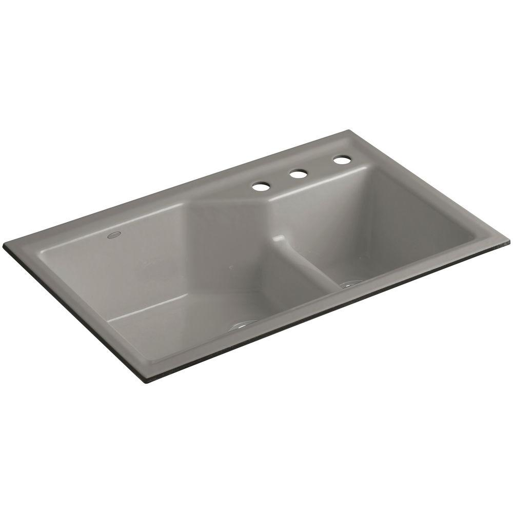 Indio Smart Divide Undermount Cast Iron 33 in. 3-Hole Double Basin