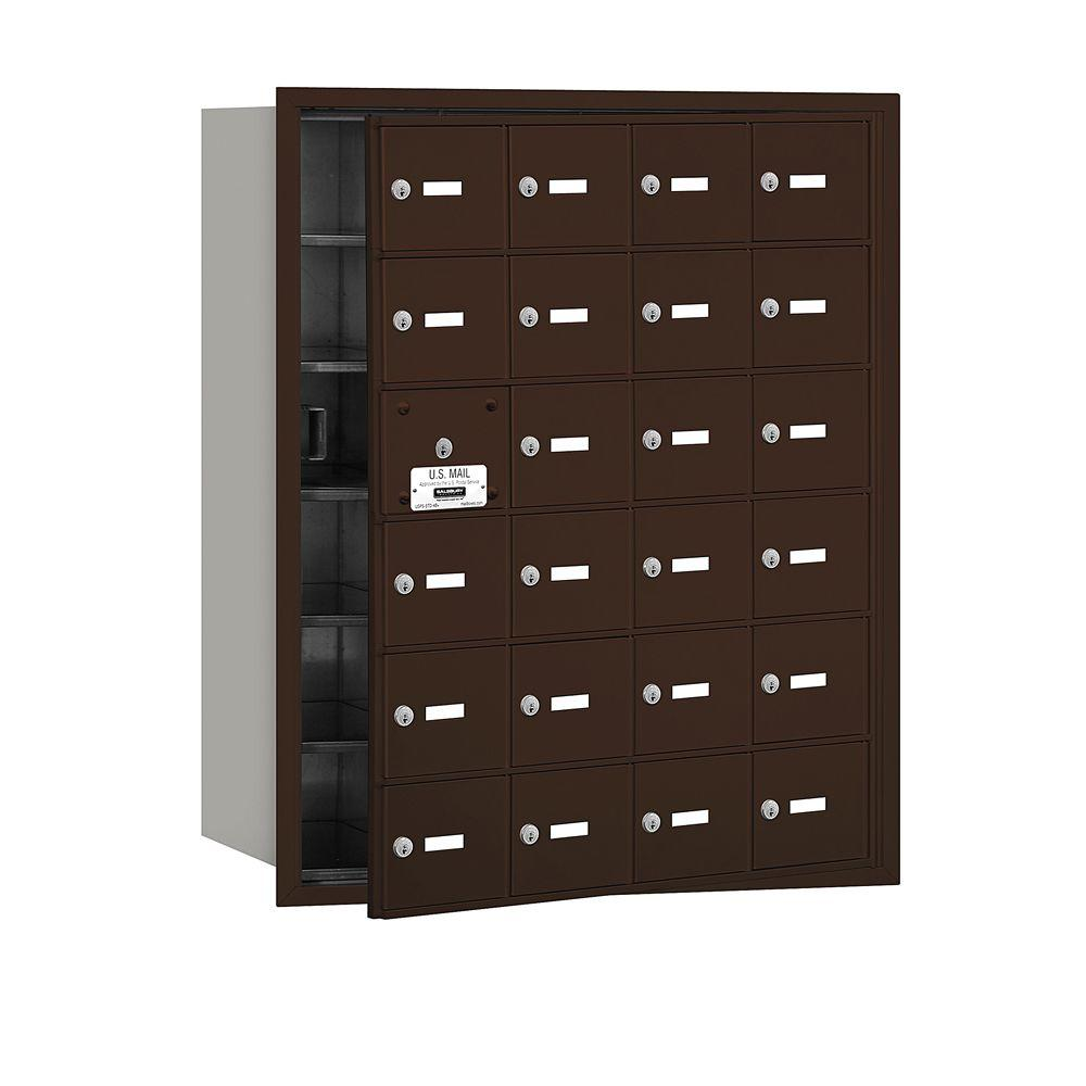 Salsbury Industries Bronze USPS Access Front Loading 4B Plus Horizontal Mailbox with 24A Doors (23 Usable)