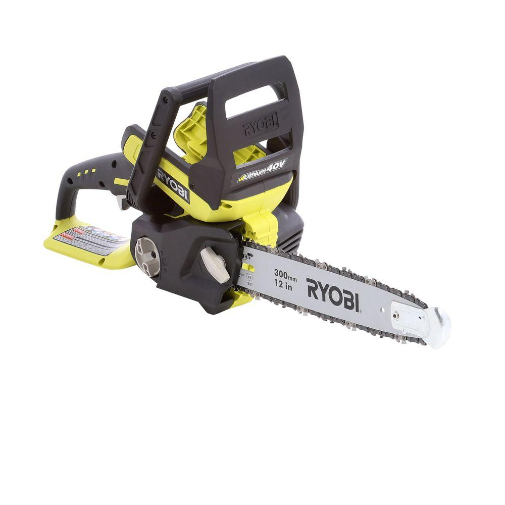 Ryobi 12 in. 40-Volt Lithium-Ion Cordless Chainsaw - Battery and Charger Not Included