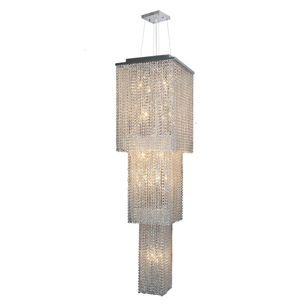 Prism Collection 20-Light Chrome Chandelier with Crystal Shade