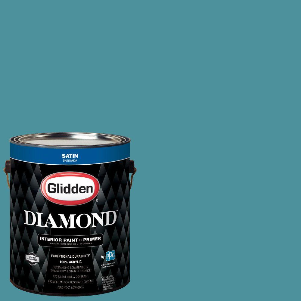 1 gal. #HDGB34D Dark Westwind Blue Satin Interior Paint with Primer